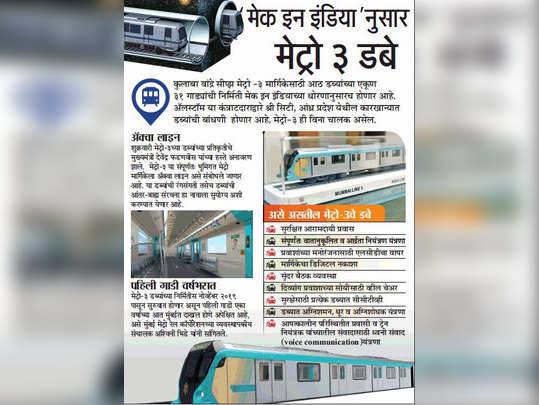 मेट्रो ३ डबे 'मेक इन इंडिया'नुसार