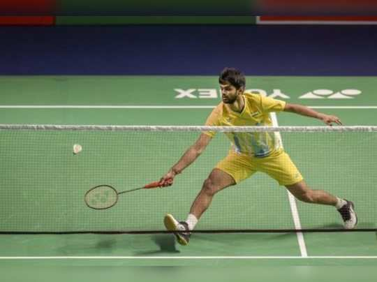 New Delhi: Indias Sai Praneeth B plays a shot against compatriot Kidambi Srikan...