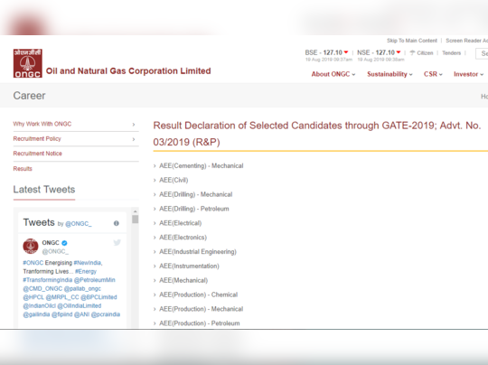 ongc result gate 2019