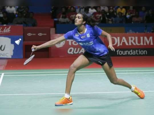 Jakarta: P.V. Sindhu of India competes against Akane Yamaguchi of Japan during t...