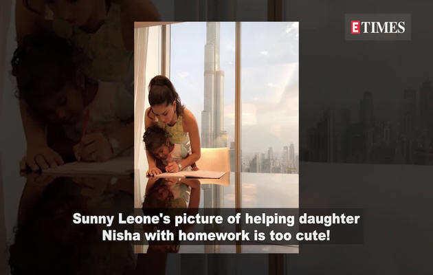 वकेशन पर भी बेटी निशा को होमवर्क कराते दिखीं सनी लियोनी