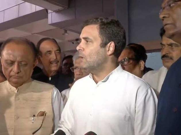 वापस दिल्ली पहुंचकर मीडिया से बात करते राहुल गांधी (तस्वीर- एएनआई)