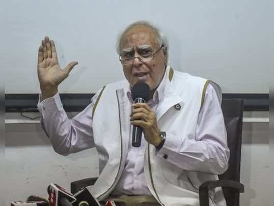 Mumbai: Senior Congress leader Kapil Sibal interacts with the media during a pre...
