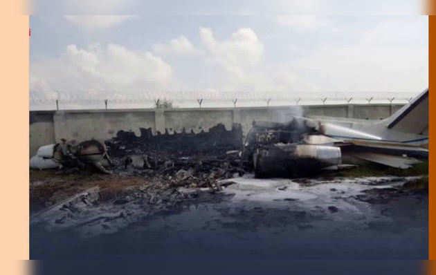 अलीगढ़: लैंड करते वक्त क्रैश हुआ चार्टर्ड प्लेन