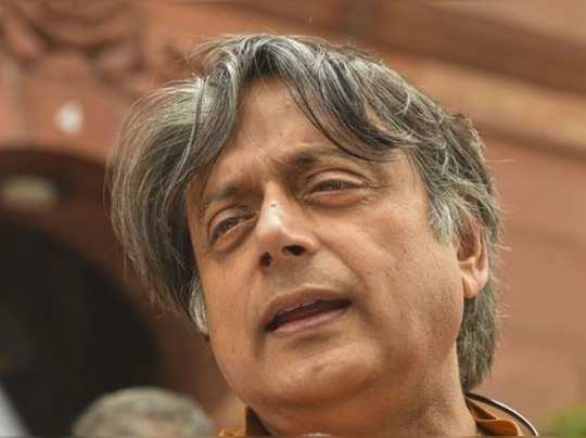New Delhi: Congress MP Shashi Tharoor during the Budget Session at Parliament Ho...