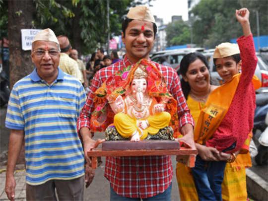 आले रे घरी गणपती... अवघ्या महाराष्ट्रात उत्साहाला उधाण