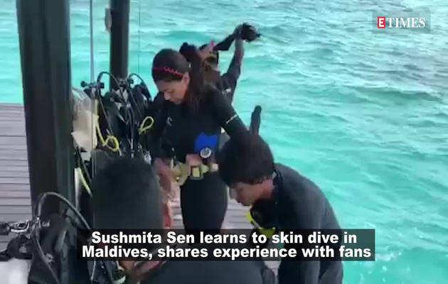 43 की उम्र में सुष्मिता सेन ने सीखी स्किन डाइविंग