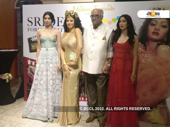 Boney Kapoor gets emotional with daughters Khushi and Janhvi as they unveil Sridevi's statue at Madame Tussauds Singapore