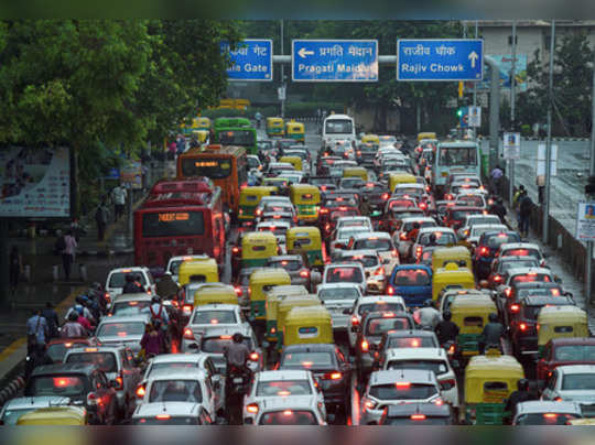 New Delhi: A view of a traffic jam at ITO during a heavy downpour, in New Delhi....