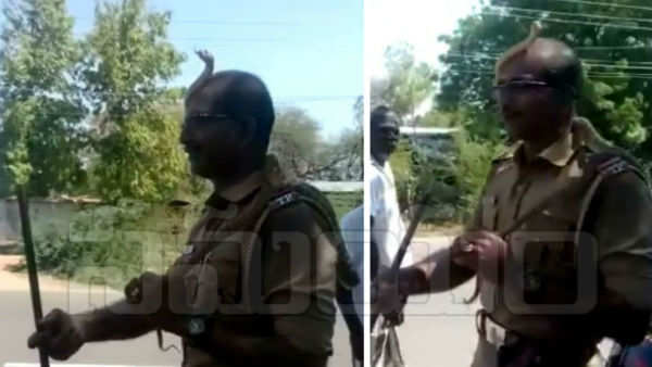 watch tamil nadu police man rescues snake without any fear