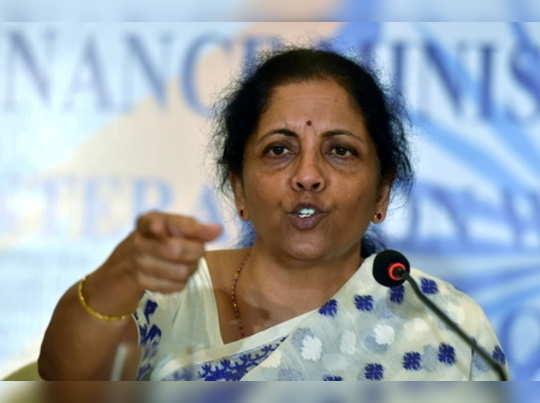 Kolkata: Union Finance Minister Nirmala Sitharaman during a press conference in ...