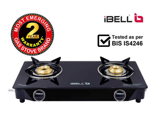 iBELL 02SMART Glass Top Gas Stove 2 Burner with 7MM Toughened Glass, Black