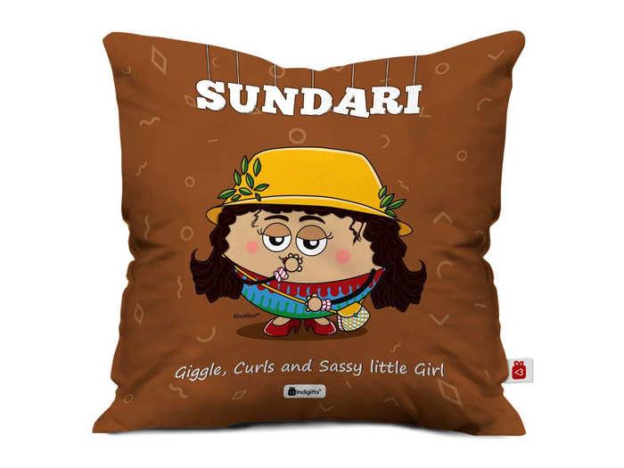 Indigifts Birthday Gift for Girls Bestie Friend Sundari Printed Brown Cushion Cover 16x16 inches Gift for Best Friend Girl, Bestie-Roommate-Hostel Friends, Friend Birthday Gift