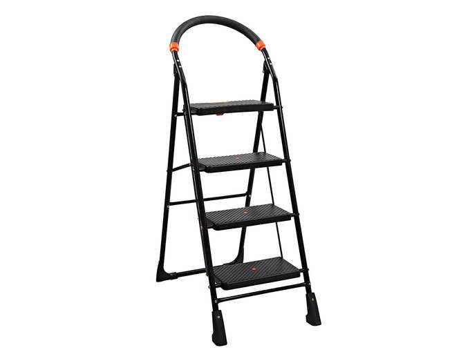Parasnath Black Heavy Folding Ladder with Wide Steps Milano 4 Steps 4.1 Ft Ladder
