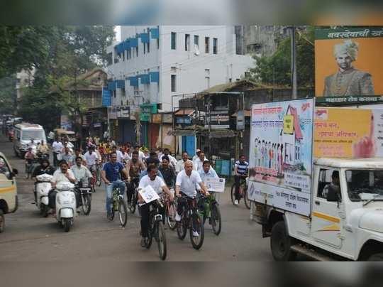 सायकल रॅलीव्दारे शहरात मतदान जागृती
