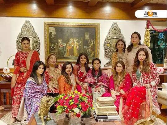 shilpa shetty, raveena tandon attend karwa chauth celebrations at anil kapoor's residence