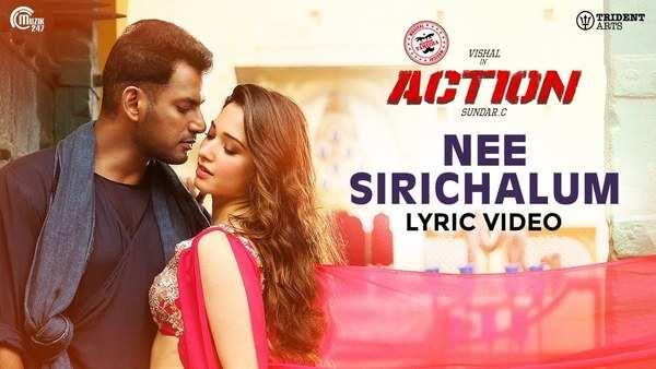 vishal tamannaah starrer action movie nee sirichalum lyric video song