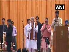 bjp leader manohar lal khattar takes oath as cm of haryana in second time