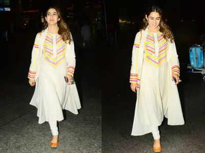ट्रेंड अलर्ट: सारा अली खान ने कुर्ते के साथ दुपट्टे की जगह पहना मैचिंग कोट