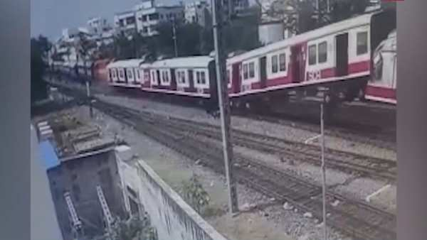 hyderabad collision between mmts and passenger train caught on cctv camera