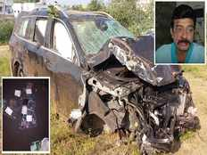 liquor bottles found in actor rajasekhar car met with accident on hyderabad orr