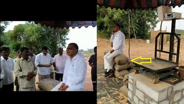 minister harish rao sits on paddy bags to discuss with farmers in gongloor paddy procurement center