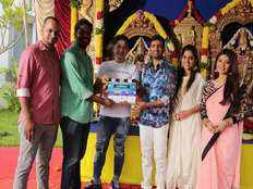 comedy actor santhanams triple action movie Dikkilona shooting starts with pooja