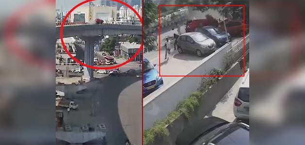 हैदराबाद: फ्लाईओवर से गिरी कार, सीसीटीवी में कैद हुआ हादसा