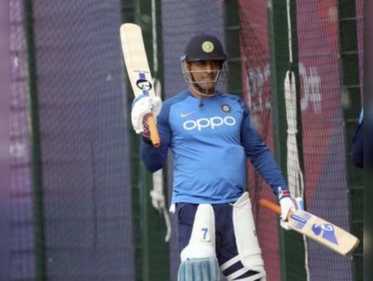 Manchester: Indias MS Dhoni leaves after batting in the nets during a training ...