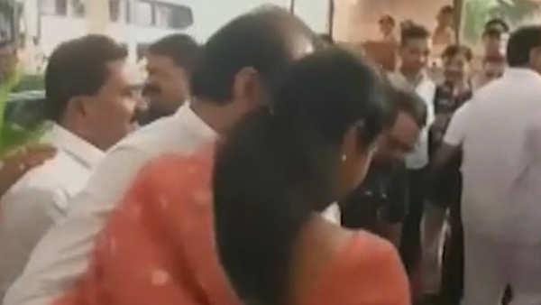 ncp mp supriya sule welcomes ajit pawar at vidhan sabha