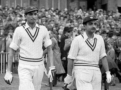 सैयद मुश्ताक अली (बाएं) और विजय मर्चेंट