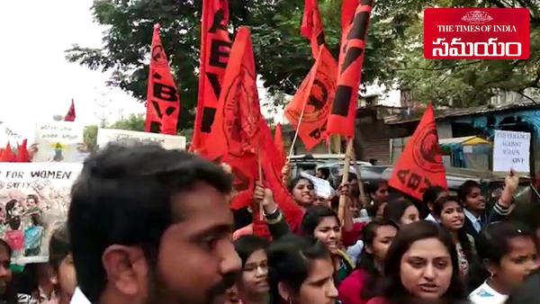 abvp protest against veterinary doctor murder in shamshabad
