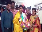 एशियन आर्चरी चैंपियनशिप जीतने के बाद ज्योति वेनम का भारत लौटने पर हुआ स्वागत