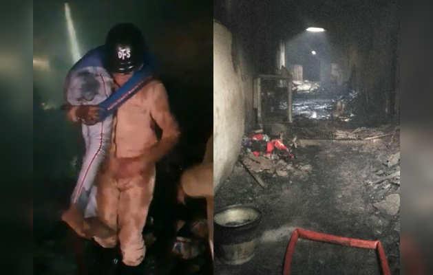 अनाज मंडी इलाके में बिल्डिंग में लगी आग