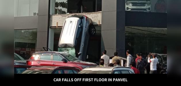 Car falls off first floor building in Panvel