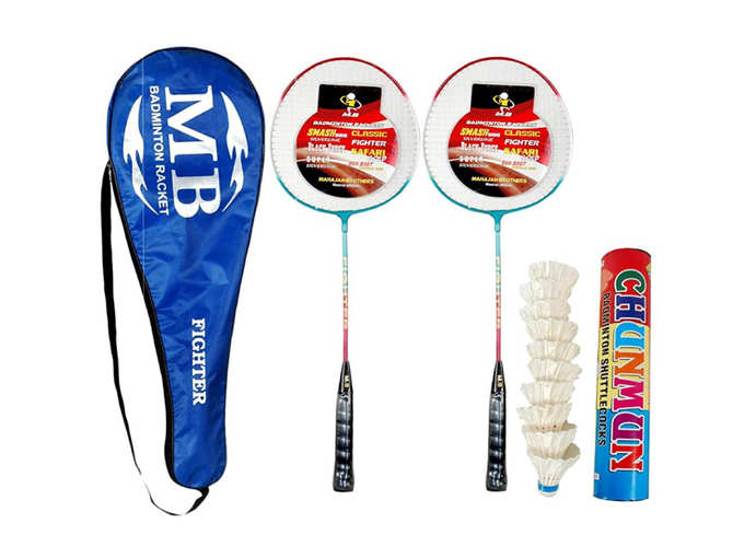 Combo,Set of 2 alimunium Racket with 1 Full Length Strong Cover and 1 Box chunmun White Feather Shuttle Cock