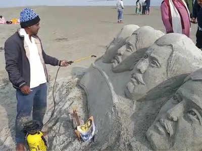 रेत से बनाया शहीदों का पोर्ट्रेट