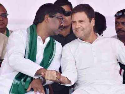 हेमंत सोरेन और राहुल गांधी।