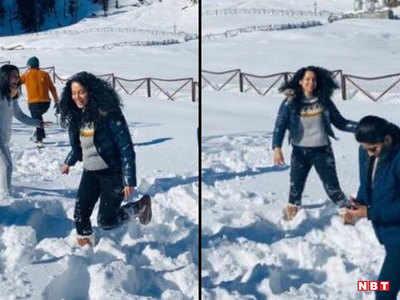 कंगना की बर्फ पर मस्ती