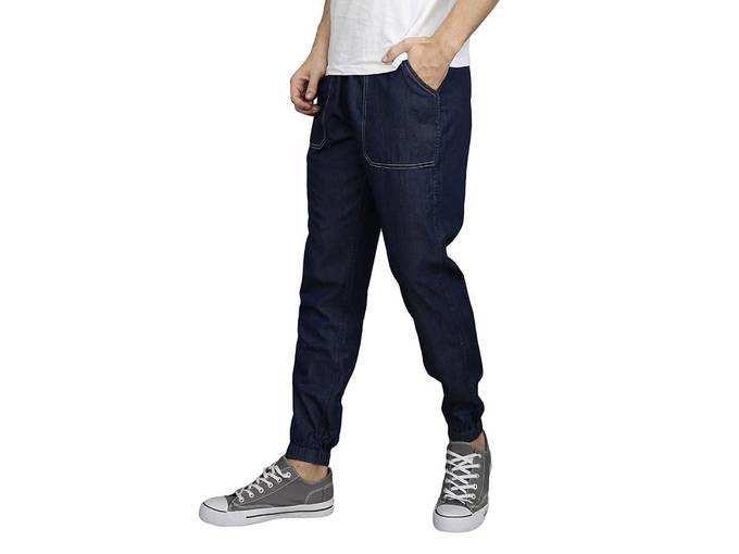 Mens Cotton Denim Slim Fit Fully Reversible Track Pants