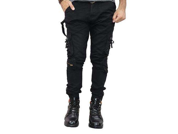 Mens 6 Pocket Relaxed and Regular Fit Cotton Cargo Jogger Pants