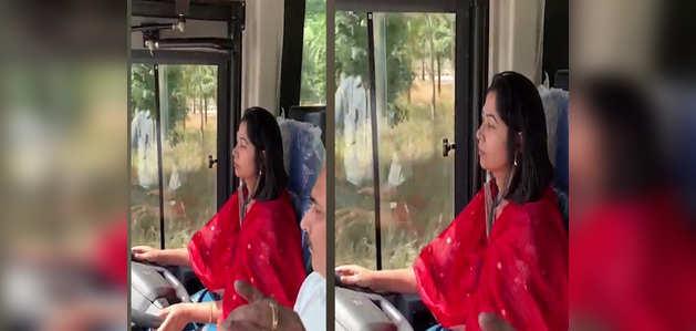 बेंगलुरू: महिला आईएएस अधिकारी ने वॉल्वो बस से किया टेस्ट ड्राइव