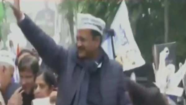 watch cm arvind kejriwal embarks on road show before filing nomination papers