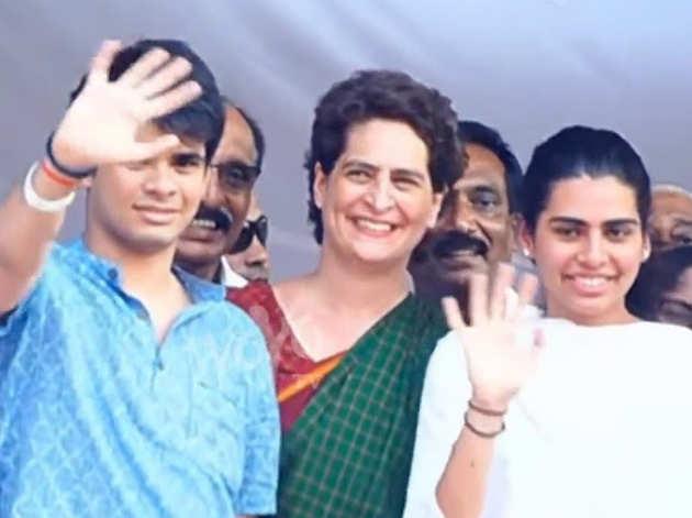बेटे और बेटी के साथ प्रियंका गांधी (फोटो: विडियो ग्रैब)