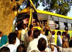 மரத்தில் மோதிய பள்ளி பேருந்து: மாணவர்கள் படுகாயம்
