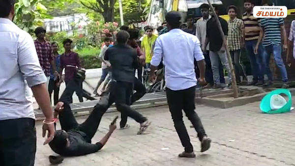 chennai srm college students gang fight into the campus