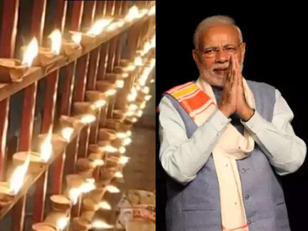 पीएम नरेंद्र मोदी के स्वागत में गुरुवार शाम लोगों ने हजारों दीये जलाए
