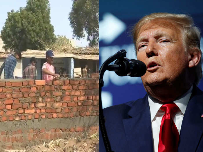 ahmedabad municipal corporation is building a wall in front of slum before donald trump visit