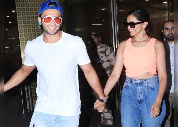 हाथों में हाथ डाले एयरपोर्ट पर यूं दिखे दीपिका पादुकोण और रणवीर सिंह