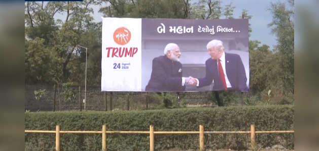 अहमदाबाद: डोनल्ड ट्रंप की यात्रा से पहले जगह-जगह 'नमस्ते ट्रंप' के पोस्टर लगे